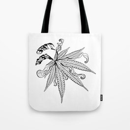 Marijuana leaf with smoke Tote Bag