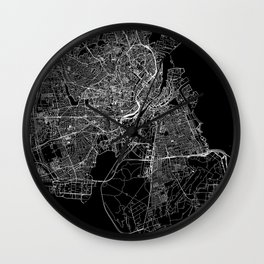 Copenhagen Black Map Wall Clock