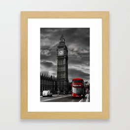 London - Big Ben with Red Bus bw red Framed Art Print