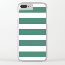 Viridian - solid color - white stripes pattern Clear iPhone Case