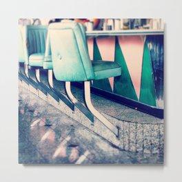 Retro Diner Photograph, kitchen art, restaurant decor, shabby chic, vintage, pastels, mint and pink Metal Print