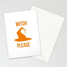 Witch Please Halloween Fly On A Broom Stationery Cards
