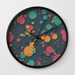 """Retro Colorful Polka Dots"" Wall Clock"