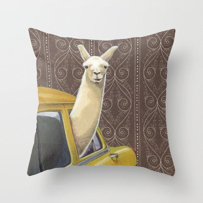 Taxi Llama Throw Pillow
