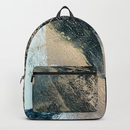 Just like Honey [2]: a pretty, minimal abstract mixed-media piece in blue, gold, and pink Backpack