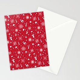 Merry Christmas holiday snowflakes, hearts, angels, deer on red Stationery Cards