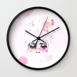 Speechless Girl - My pink sadness in watercolors Wall Clock