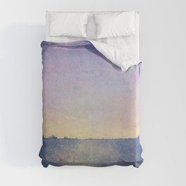 Watercolour Sunset Textural Abstract Painting Duvet Cover