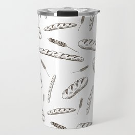 Bread print. Hand-drawn bread baguettes on white background. Travel Mug
