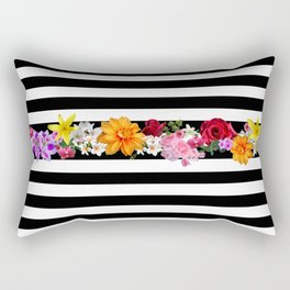 flowers on black and white stripes Rectangular Pillow