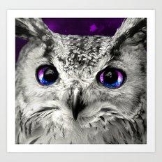 Galaxy Owl Eyes Art Print