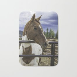 Beautiful Horse with Brown and White Patches Watching a Storm Coming in Bath Mat