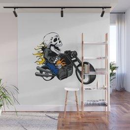 skull rider ride a motor cycle Wall Mural