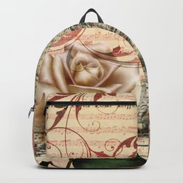 vintage chandelier white rose music notes Paris eiffel tower Backpack