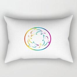 3 Rainbow Dolphins rotating Rectangular Pillow