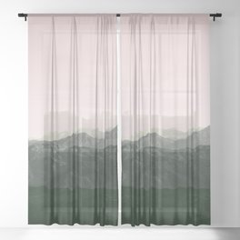 Mountains | Green + Pink Sheer Curtain