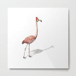 Fez Hat Flamingo Metal Print