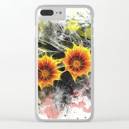 Glowing yellow daisies on white Clear iPhone Case