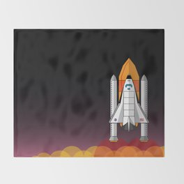 Space Shuttle night launch Throw Blanket