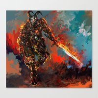 iron man Canvas Prints featuring iron man by ururuty