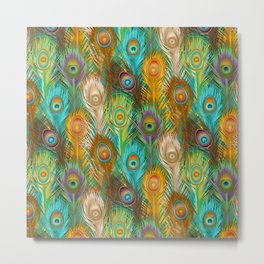 Whimsical Peacock Feathers Metal Print