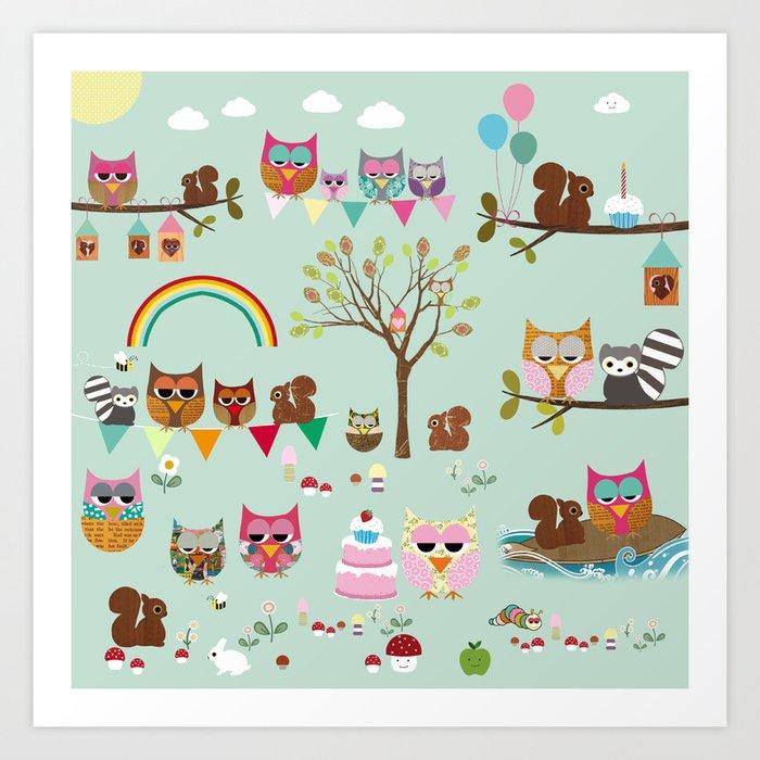 Owl Park Collage Nursery Decoration Art Print By Claudiaschoen