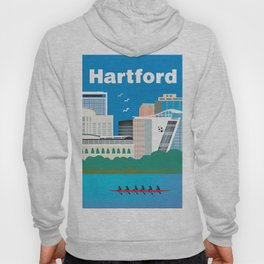 Hartford, Connecticut - Skyline Illustration by Loose Petals Hoody