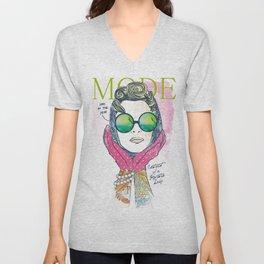 Hipster lady Unisex V-Neck