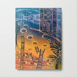 Time through Time, from Caves to Skyscraper, from Organic to Geometric Metal Print