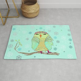 owl in the snow Rug