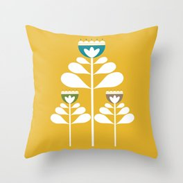 Scandinavian Retro Flowers #1 Throw Pillow