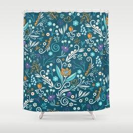 Flower circle pattern, blue Shower Curtain
