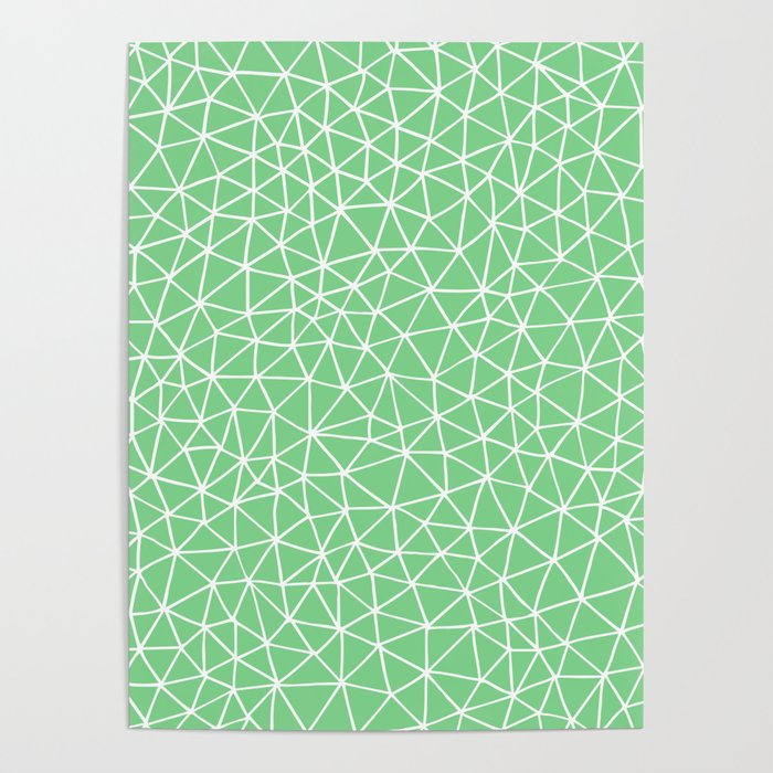 Connectivity - White on Mint Green Poster