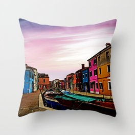 The Burano Island Throw Pillow