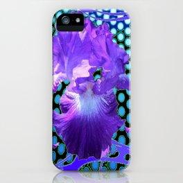 PURPLE ART NOUVEAU PURPLE IRIS ABSTRACT BLUE ART iPhone Case