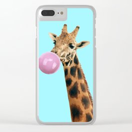 Giraffe with bubble gum Clear iPhone Case