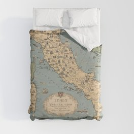 1935 Vintage Map of Italy and Vatican City Duvet Cover