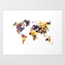 world map 78 yellow Art Print