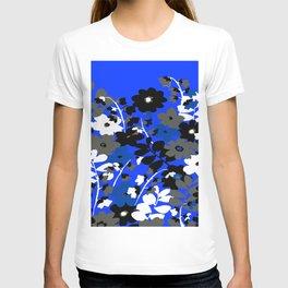 SUNFLOWER TRELLIS BLUE BLACK GRAY AND WHITE TOILE T-shirt