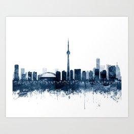 Toronto Skyline Blue Watercolor Print by Zouzounio Art Art Print