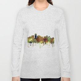 Long Beach, California Skyline - Safari Buff Long Sleeve T-shirt