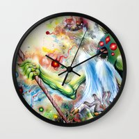 architect Wall Clocks featuring Architect of Prehysterical Myth by Skinner