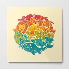 Animal Rainbow - cream Metal Print