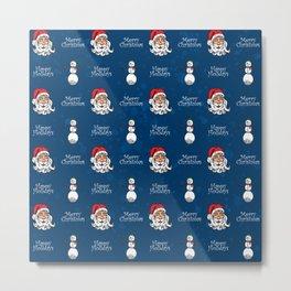 Santa and Snowman Metal Print