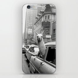 Llama Riding in Taxi, Black and White Vintage Print iPhone Skin