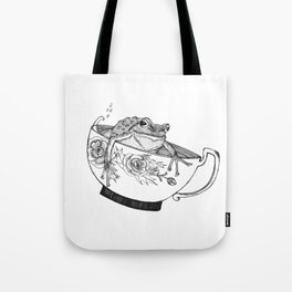 Pacific Northwest Tree Frog Riding in a China Teacup Tote Bag