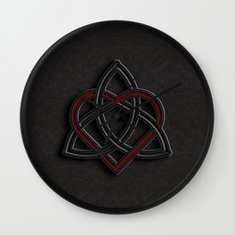 Celtic Knot Valentine Heart Black Leather Wall Clock