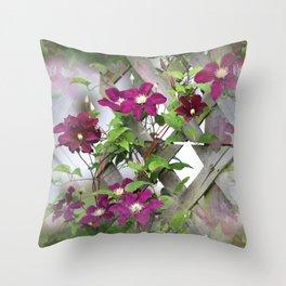 Lilac Clematis Climbing Trellis Throw Pillow