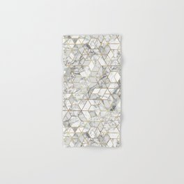 White marble geomeric pattern in gold frame Hand & Bath Towel
