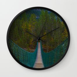 Suspension Bridge along the Berg Lake Trail in British Columbia, Canada Wall Clock